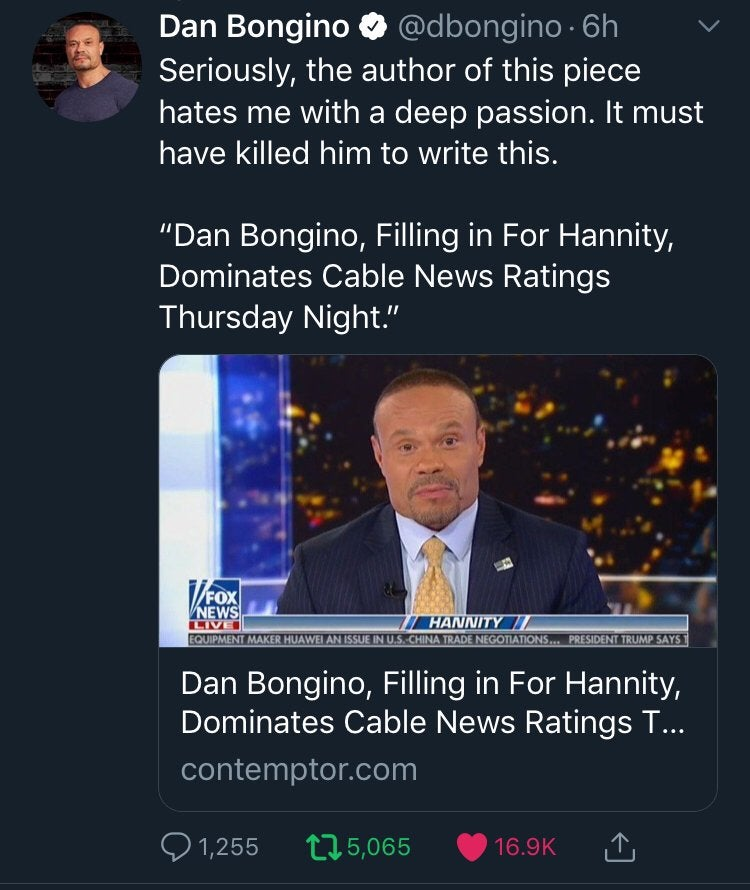 DAN BONGINO, FILLING IN FOR HANNITY, DOMINATES CABLE NEWS RATINGS