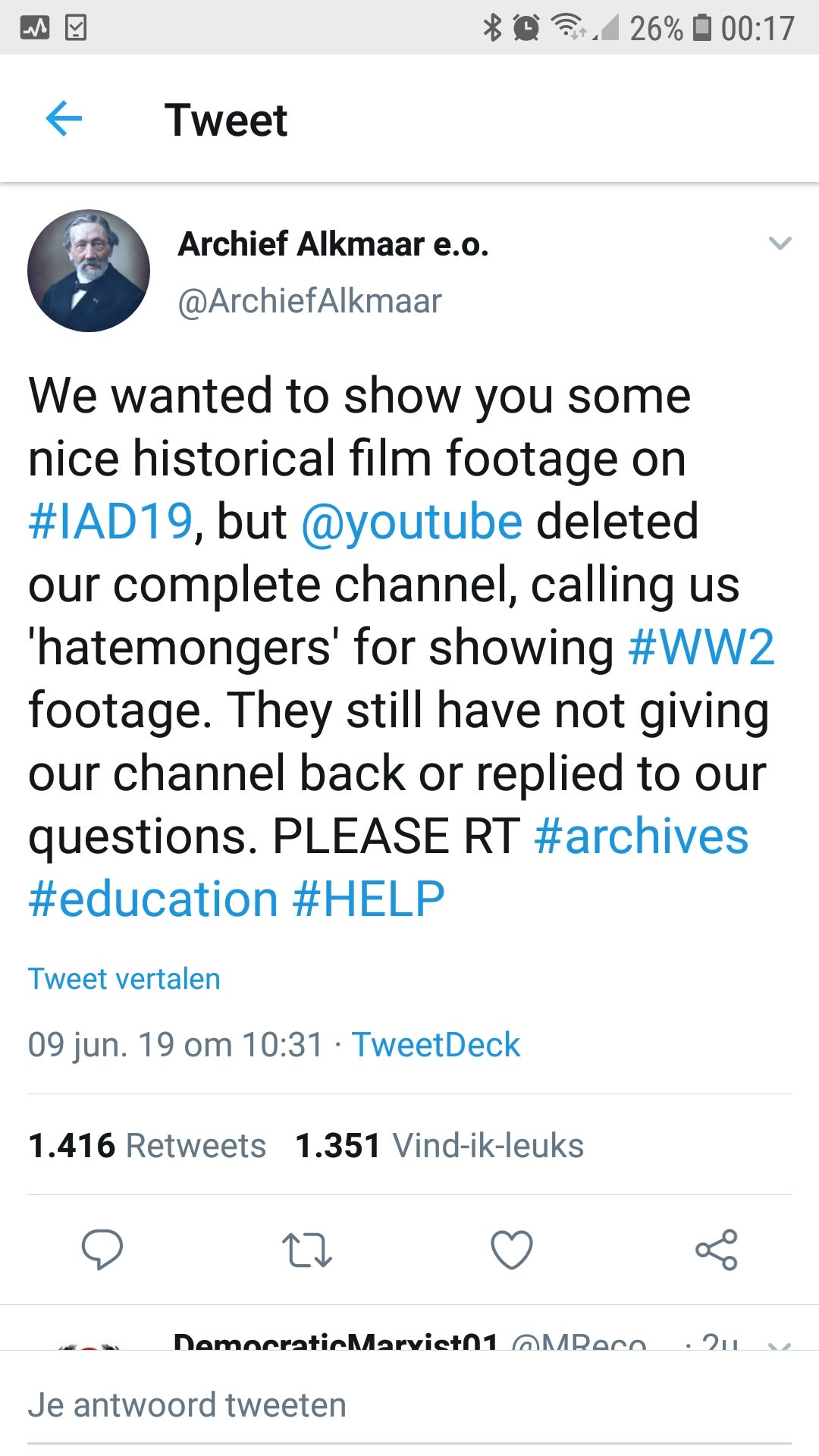 Official Dutch WW2 archive channel deleted from youtube